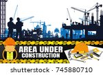 construction silhouettes vector ...   Shutterstock .eps vector #745880710