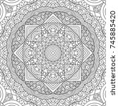 adult colouring book page with... | Shutterstock .eps vector #745885420