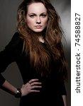 portrait of alluring woman over ... | Shutterstock . vector #74588827