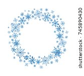 watercolor winter wreath with... | Shutterstock . vector #745890430