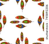 summer fashion feathers pattern ... | Shutterstock .eps vector #745892206