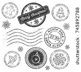 christmas stamp set isolated on ... | Shutterstock .eps vector #745892788