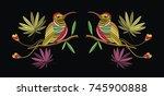 embriodary stitch humming bird... | Shutterstock .eps vector #745900888