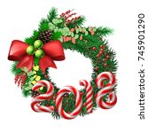 christmas wreath. evergreen... | Shutterstock .eps vector #745901290