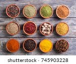 collection of indian spices in... | Shutterstock . vector #745903228