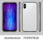 realistic white slim smartphone ... | Shutterstock .eps vector #745907818