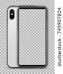 realistic white slim smartphone ... | Shutterstock .eps vector #745907824