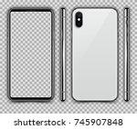 realistic white slim smartphone ... | Shutterstock .eps vector #745907848