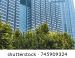 view of contemporary glass... | Shutterstock . vector #745909324
