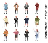 woman winter fashion character... | Shutterstock .eps vector #745924789