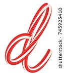 xmas candy cane letter isolated ... | Shutterstock .eps vector #745925410