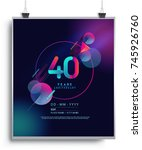 40 years anniversary logo with... | Shutterstock .eps vector #745926760