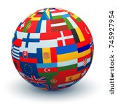 a sphere made from combining... | Shutterstock . vector #745927954