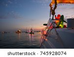 view from a decorated powerboat ... | Shutterstock . vector #745928074