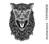 ferocious wolf head. angry... | Shutterstock .eps vector #745930858