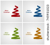 merry christmas card with...   Shutterstock .eps vector #745931023
