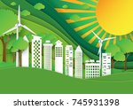 green city with nature... | Shutterstock .eps vector #745931398