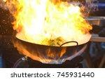 'stir fried swamp cabbage' ...   Shutterstock . vector #745931440