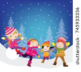 kid playing in snow  children... | Shutterstock .eps vector #745933336