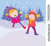 kid playing in snow  children... | Shutterstock .eps vector #745933354