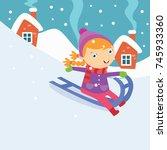 kid playing in snow  children... | Shutterstock .eps vector #745933360