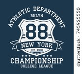 new york  bklyn vintage number... | Shutterstock .eps vector #745935550