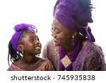 mother and child girl looking... | Shutterstock . vector #745935838