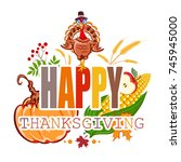 happy thanksgiving abstract... | Shutterstock . vector #745945000