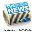 a rolled newspaper featuring... | Shutterstock . vector #745945624