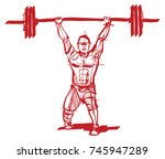 the athlete with a barbell in... | Shutterstock .eps vector #745947289