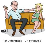 film producer offers a young... | Shutterstock .eps vector #745948066