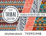 colorful ethnic patterns... | Shutterstock .eps vector #745951948