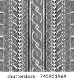 tribal monochrome pattern.... | Shutterstock .eps vector #745951969