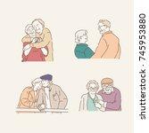 happy appearance of an elderly... | Shutterstock .eps vector #745953880