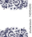 invitation with floral... | Shutterstock . vector #745954390