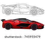detailed side of a flat red car ... | Shutterstock .eps vector #745955479