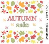 autumn sale poster. happy... | Shutterstock . vector #745957714