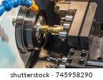 multi function cnc lathe... | Shutterstock . vector #745958290