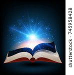 book with bright light shinning ... | Shutterstock .eps vector #745958428