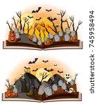 two halloween scenes at... | Shutterstock .eps vector #745958494