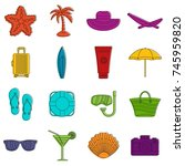 summer rest icons set. doodle... | Shutterstock .eps vector #745959820