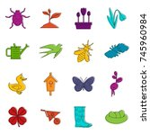 spring icons set. doodle... | Shutterstock .eps vector #745960984