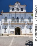 Small photo of EVORA, PORTUGAL - JULY 01, 2016: Town Hall on the Plaza of Sertorio. It's the remains of the Roman baths (Termas Romanas) inside an office building. Evora. Portugal