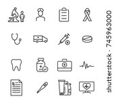 set of premium healthcare icons ... | Shutterstock .eps vector #745963000