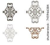 classical baroque vector set of ... | Shutterstock .eps vector #745966384