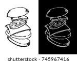 hand drawn burger. burger...   Shutterstock .eps vector #745967416