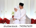 romantic wedding couple. muslim ... | Shutterstock . vector #745967659