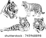 set of vector drawings on the... | Shutterstock .eps vector #745968898
