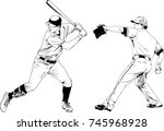set of vector drawings on the... | Shutterstock .eps vector #745968928