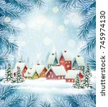 winter village christmas... | Shutterstock .eps vector #745974130